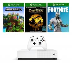 Žaidimų konsolė Microsoft Xbox One S 1TB All-Digital Edition white + Minecraft + Sea of Thieves + Fortnite Žaidimų konsolės ir priedai
