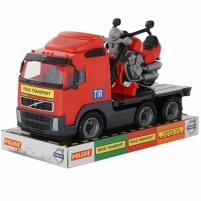 Žaislinis vilkikas su motociklu   Volvo Big Truck   Wader