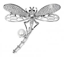 Žavinga sagės laumžirgis su tikru perlu JwL Luxury Pearls JL0514 Brooch hanger