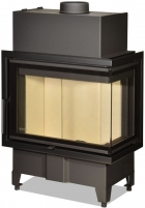 Židinio ugniakuras kampinis HR2SY23 60.44.33.13 dviejų dalių dešinės pusės stiklu 44 cm ir atv. durimis Židiniai, pirties krosnelės