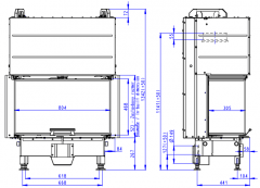 Židinio ugniakuras ROMOTOP trijų stiklų HC3LJ01+K1 80.52.31.01, pakel. durelėmis. Stiklas- vientisas, su montavimo rėmu