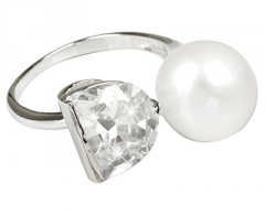 Žiedas JwL Luxury Pearls Silver ring with white pearl and crystal clear JL0262