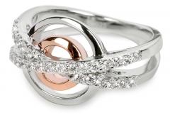 Žiedas Silver Cat sidabrinis su kristalais SC025 (Dydis: 52 mm) Rings