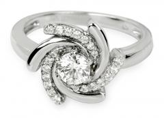 Žiedas Silver Cat sidabrinis su kristalais SC040 (Dydis: 56 mm) Rings