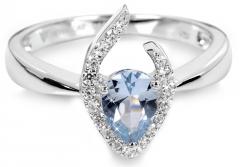 Žiedas Silver Cat Silver ring with blue crystal SC115 Žiedai
