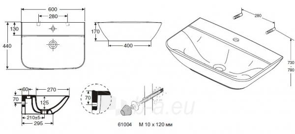 1111401101 SEVEN D, 600x440 mm praustuvas, su tvirtinimais Paveikslėlis 2 iš 3 270711001353