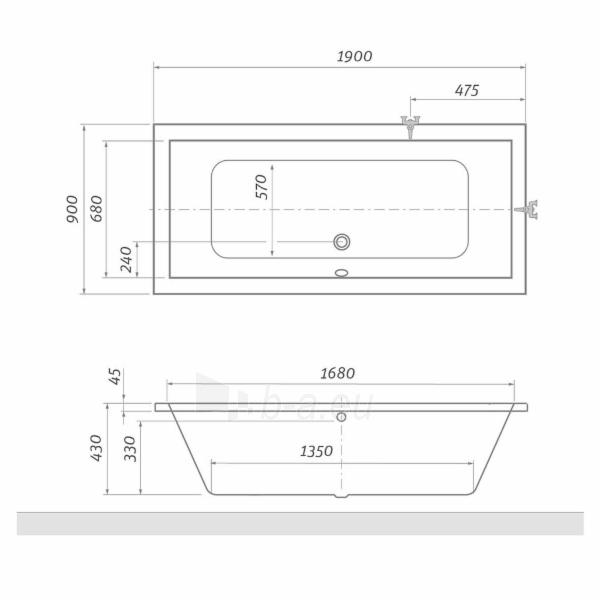 Stačiakampė vonia ROLTECHNIK KUBIC 190x90 cm Paveikslėlis 2 iš 2 270716000986