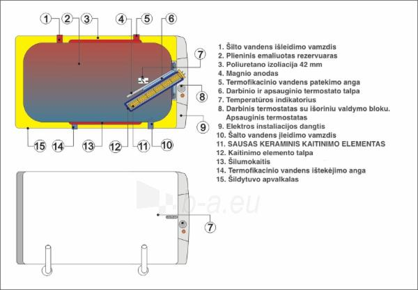 Pakabinamas horizontalus kombinuotas vandens šildytuvas DRAŽICE OKCV 160 Paveikslėlis 2 iš 3 271420000045
