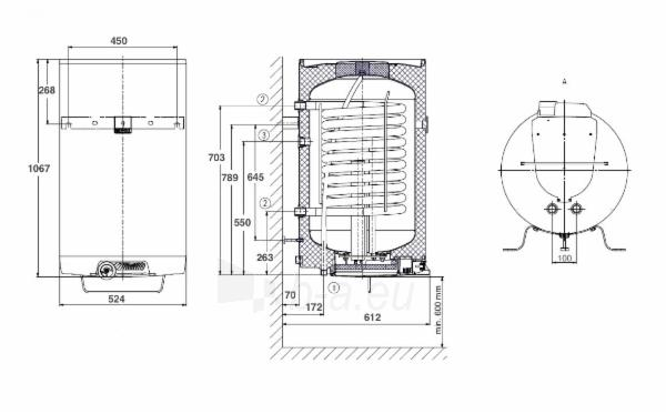 Vandens šildytuvas okc 125 /1 m2, vertikalus Paveikslėlis 3 iš 3 271420000224