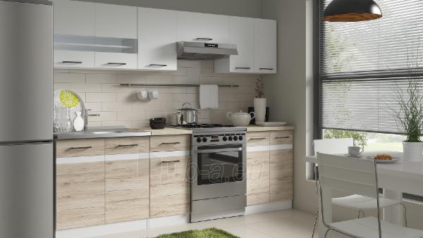 Virtuvės komplektas Junona 240 Balta blizgi/Ąžuolas Sanremo Paveikslėlis 1 iš 4 310820038017