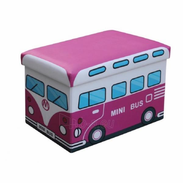 Dėžė žaislams-pufas Kiri rožinis autobusas Paveikslėlis 1 iš 1 310820091980