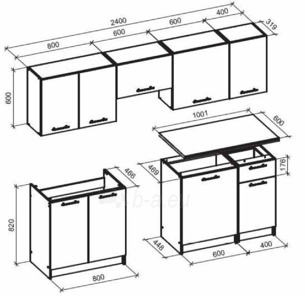 Virtuvės komplektas Daria 240 ąžuolas votan Paveikslėlis 2 iš 2 310820172401