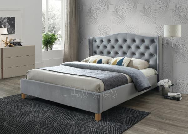 Miegamojo lova Aspen 140 aksomas pilka Paveikslėlis 1 iš 2 310820208288
