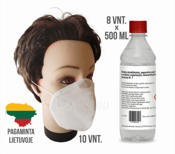 Dezinfekcinio skysčio rankoms ir apsauginių kaukių rinkinys (8 buteliukai + 10 kaukių ) Paveikslėlis 1 iš 5 310820209583