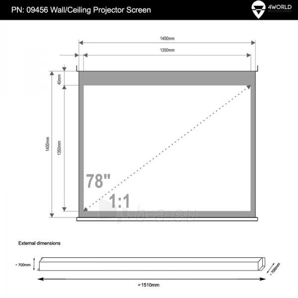 4World Elektrinis projektoriaus ekranas, remote, 140x140 (1:1) Matt White Paveikslėlis 5 iš 9 30058000068