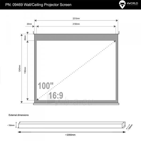 4World Elektrinis projektoriaus ekranas, switch, 221x124 (16:9) Matt White Paveikslėlis 5 iš 8 250224001019