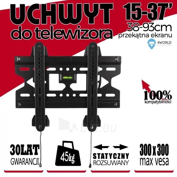 4World LCD sieninis laikiklis 15- 37 fiksuotas, SLIM, TV svoris iki 45kg BLK Paveikslėlis 3 iš 4 250226200490