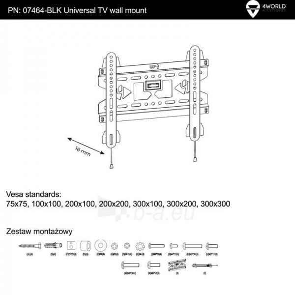4World LCD sieninis laikiklis 15- 37 fiksuotas, SLIM, TV svoris iki 45kg BLK Paveikslėlis 4 iš 4 250226200490
