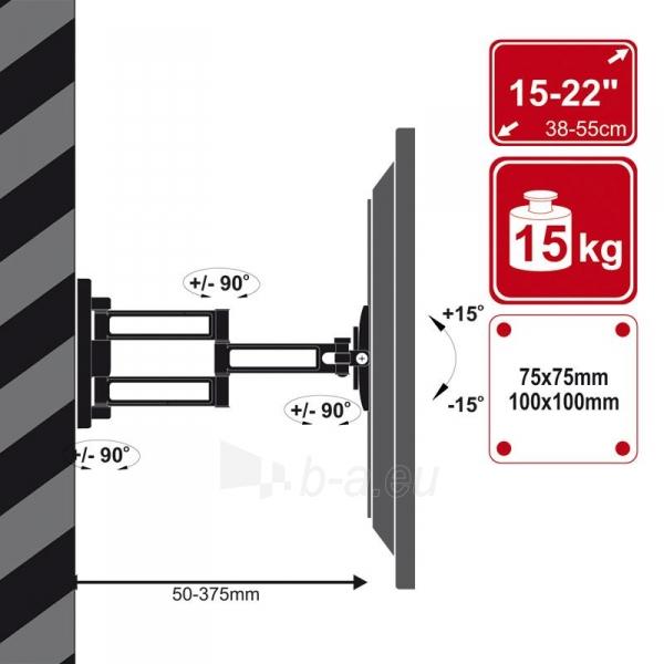 4World LCD sieninis laikiklis 15-22'' pasukamas/palenkiamas, TV iki 36kg BLK Paveikslėlis 3 iš 3 250226200436