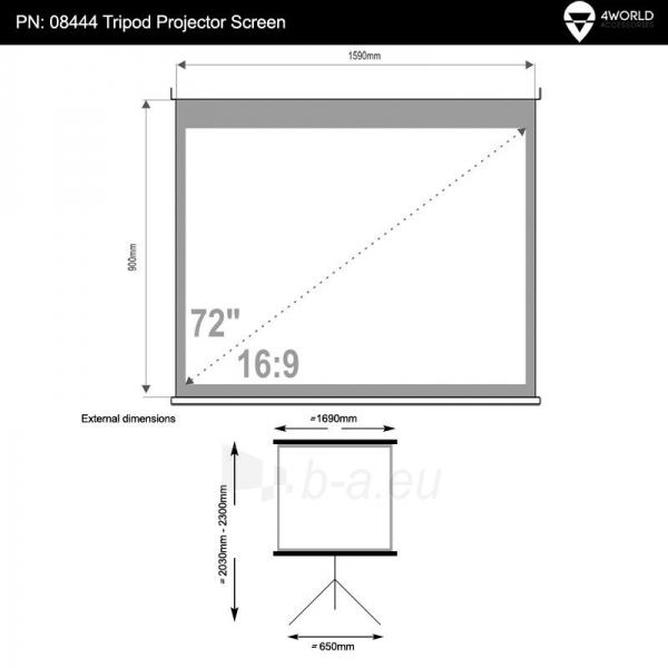 4World Pastatomas projektoriaus ekranas 159x90 (72, 16:9) Matt White Paveikslėlis 5 iš 7 250224001021