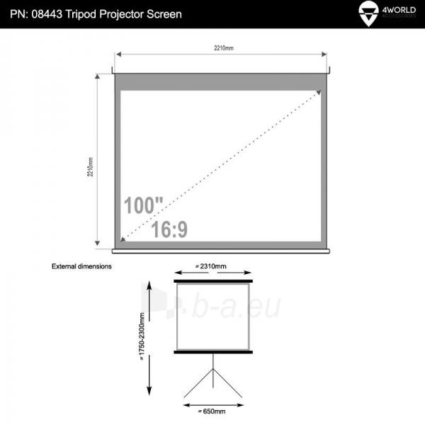 4World Pastatomas projektroriaus ekranas 221x124 (100, 16:9) Matt White Paveikslėlis 5 iš 7 250224001024