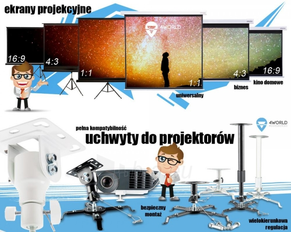4World Pastatomas projektroriaus ekranas 221x124 (100, 16:9) Matt White Paveikslėlis 7 iš 7 250224001024