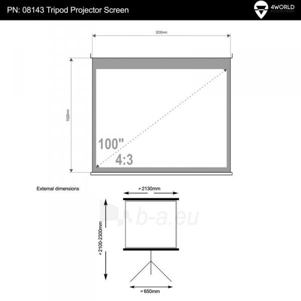 4World Projekciniai ekranai ant sienos 203x152 (100'', 4:3) Matt White Paveikslėlis 5 iš 7 30058000003