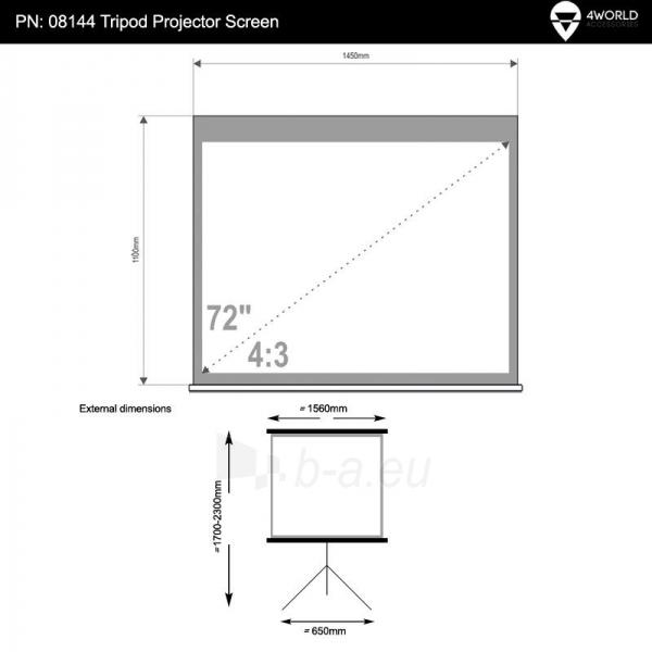 4World Projekciniai ekranai su stovu 145x110 (72'',4:3) Matt White Paveikslėlis 5 iš 7 30058000004