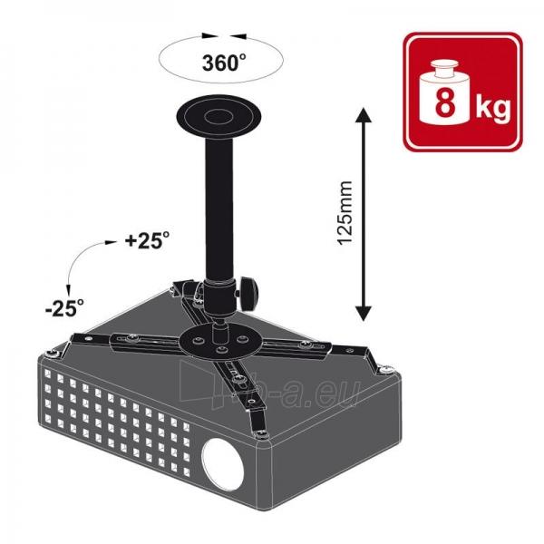 4World Projektoriaus laikiklis, luboms,pasukamas/palenkiamas, 12,5 cm, BLK Paveikslėlis 3 iš 4 30058300121