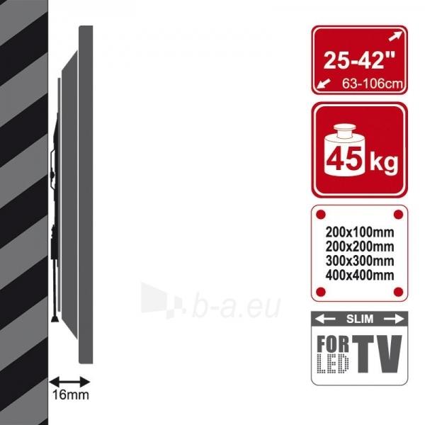 4World Sieninis LCD/PDP 25-42 laikiklis, SLIM, TV iki 45kg BLK Paveikslėlis 3 iš 5 250226200515