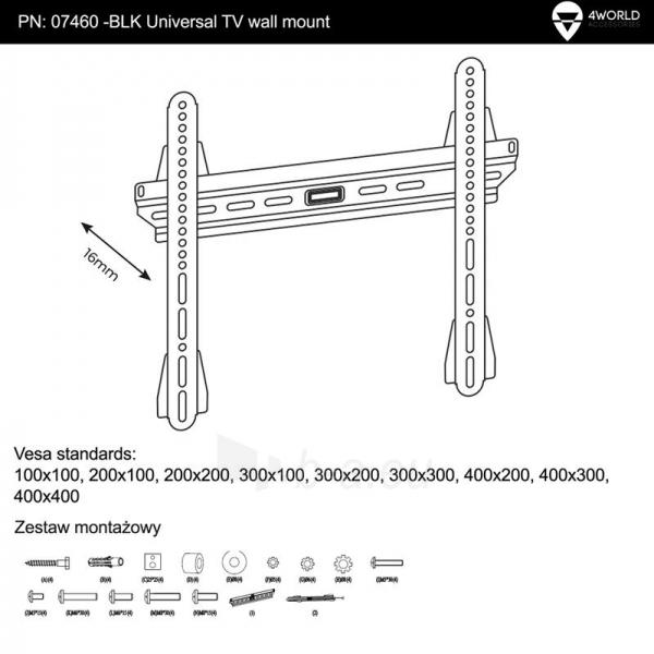 4World Sieninis LCD/PDP 25-42 laikiklis, SLIM, TV iki 45kg BLK Paveikslėlis 5 iš 5 250226200515