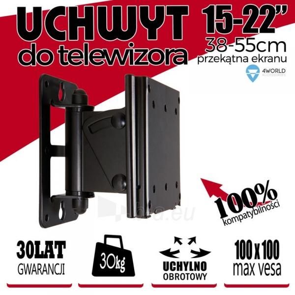 4World sieninis laikiklis LCD15-22pasukamas/palenkiamas TV svoris iki 30kg BLK Paveikslėlis 4 iš 5 250226200519
