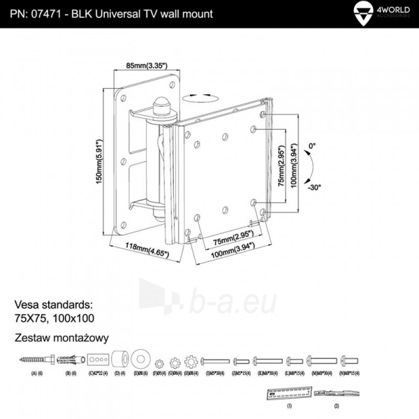 4World sieninis laikiklis LCD15-22pasukamas/palenkiamas TV svoris iki 30kg BLK Paveikslėlis 5 iš 5 250226200519
