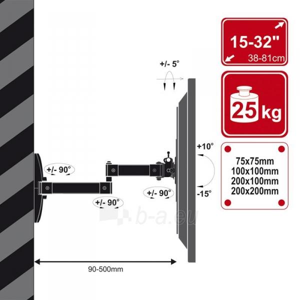 4World sieninis laikiklis LCD15-43 pasukamas/palenkiamas, svoris iki 25kg WHT Paveikslėlis 3 iš 7 310820044347