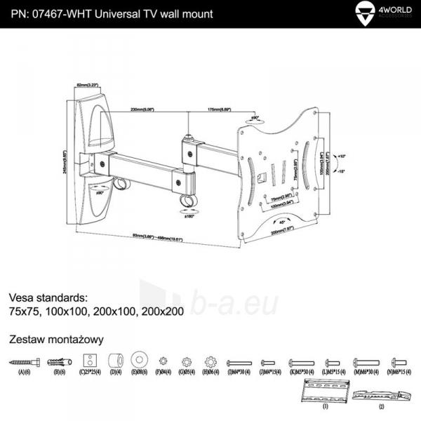 4World sieninis laikiklis LCD15-43 pasukamas/palenkiamas, svoris iki 25kg WHT Paveikslėlis 7 iš 7 310820044347