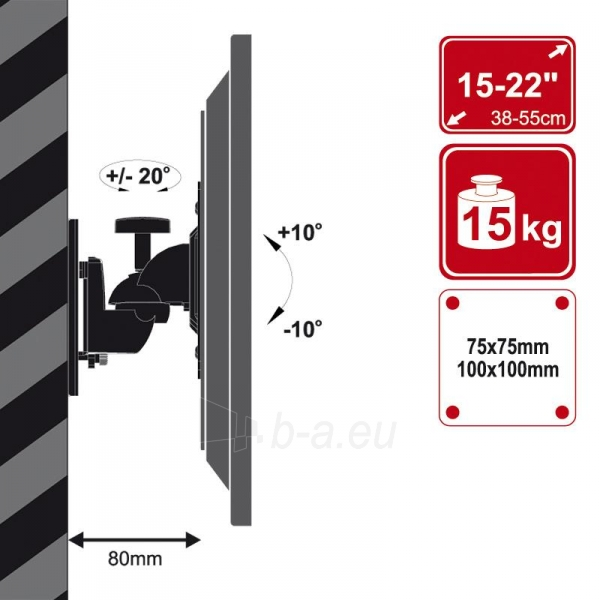 4World Sieninis LCD 15-22 laikiklis pasukamas/palenkiamas, TV iki 15kg BLK Paveikslėlis 3 iš 6 250226200521