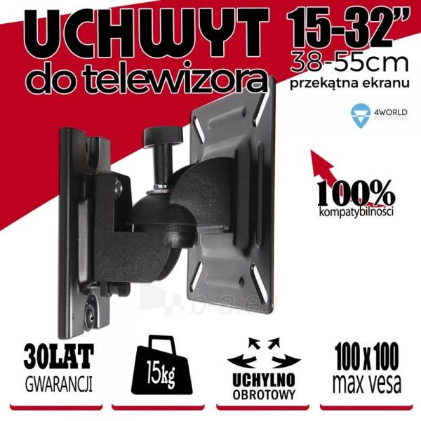 4World Sieninis LCD 15-22 laikiklis pasukamas/palenkiamas, TV iki 15kg BLK Paveikslėlis 4 iš 6 250226200521