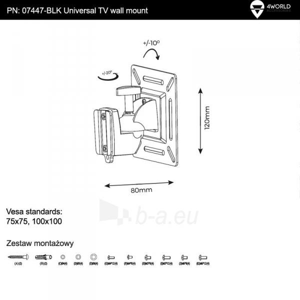 4World Sieninis LCD 15-22 laikiklis pasukamas/palenkiamas, TV iki 15kg BLK Paveikslėlis 5 iš 6 250226200521