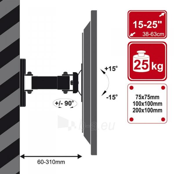 4World Sieninis LCD 15-25 laikiklis pasukamas/palenkiamas, TV iki 30kg BLK Paveikslėlis 3 iš 7 250226200524