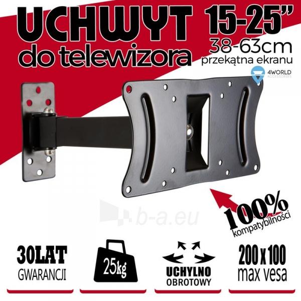 4World Sieninis LCD 15-25 laikiklis pasukamas/palenkiamas, TV iki 30kg BLK Paveikslėlis 5 iš 7 250226200524