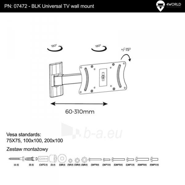 4World Sieninis LCD 15-25 laikiklis pasukamas/palenkiamas, TV iki 30kg BLK Paveikslėlis 6 iš 7 250226200524