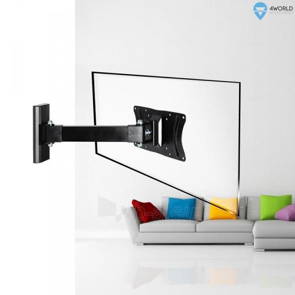 4World Sieninis LCD 15-25 laikiklis pasukamas/palenkiamas, TV iki 30kg BLK Paveikslėlis 7 iš 7 250226200524