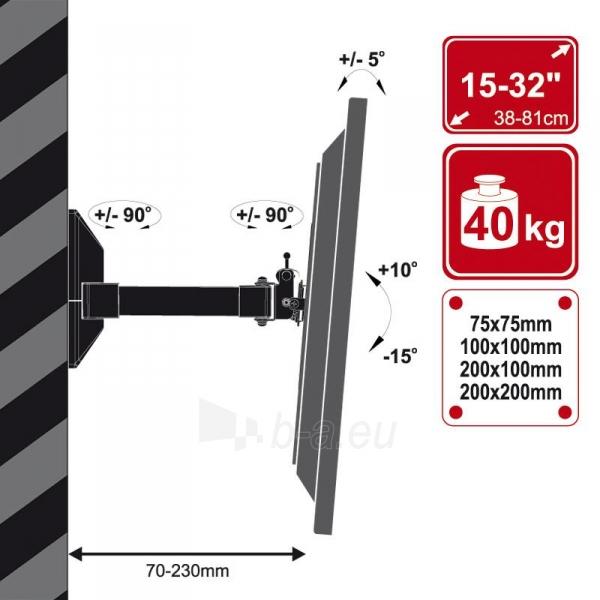 4World Sieninis LCD 15-32 laikiklis pasukamas/palenkiamas, TV iki 40kg BLK Paveikslėlis 3 iš 6 250226200526