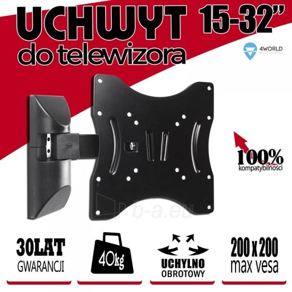 4World Sieninis LCD 15-32 laikiklis pasukamas/palenkiamas, TV iki 40kg BLK Paveikslėlis 5 iš 6 250226200526