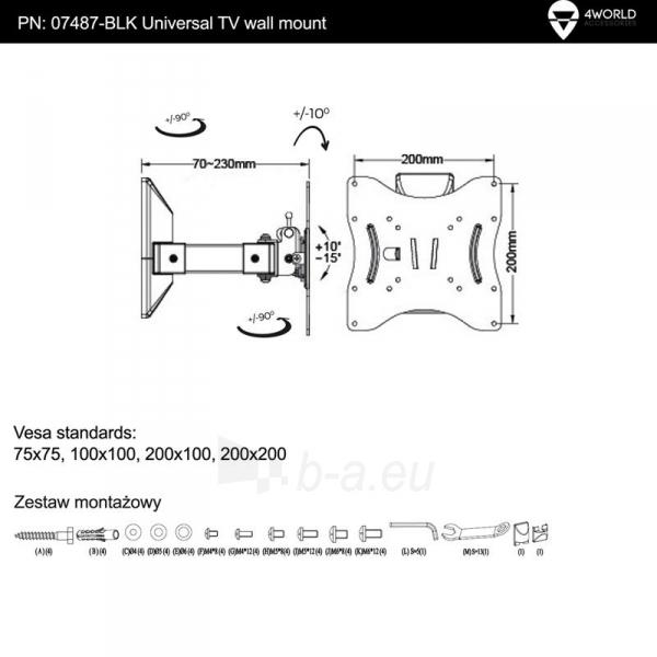 4World Sieninis LCD 15-32 laikiklis pasukamas/palenkiamas, TV iki 40kg BLK Paveikslėlis 6 iš 6 250226200526