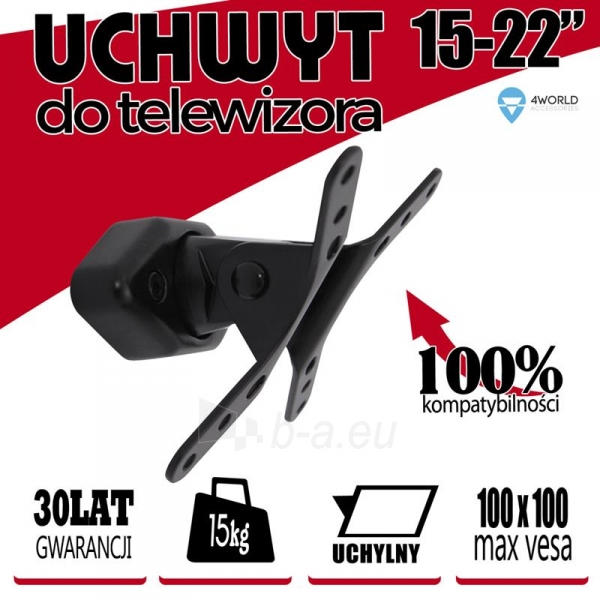4World Sieninis LCD15-22 laikiklis pasukamas/palenkiamas, TV iki 15kg BLK Paveikslėlis 4 iš 6 250226200535