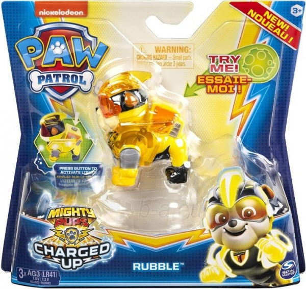 6055929 Spin Master Paw Patrol Mighty Pups Charged Up Figure - RUBBLE Paveikslėlis 1 iš 5 310820252823