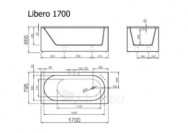 Akmens masės Vonia Libero 170x795 balta Paveikslėlis 4 iš 6 270716000079