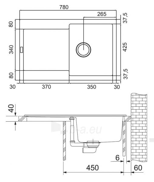 Akmens masės plautuvė FRANKE MARIS MRG 611 Grafitas Paveikslėlis 5 iš 5 271521000054