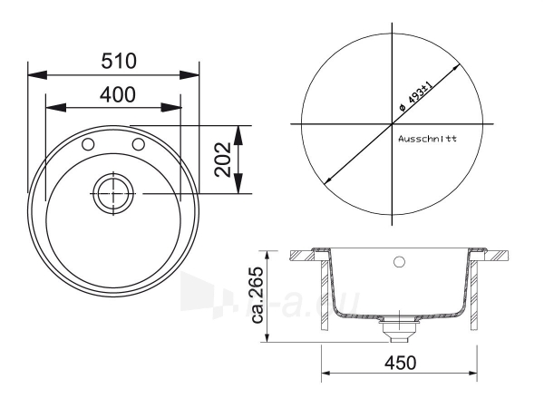Akmens masės plautuvė FRANKE RONDA ROG 610-41 Grafitas, ventilis ekscentrinis Paveikslėlis 5 iš 5 271521000091